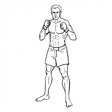 Line Art Muscular MMA Fighter