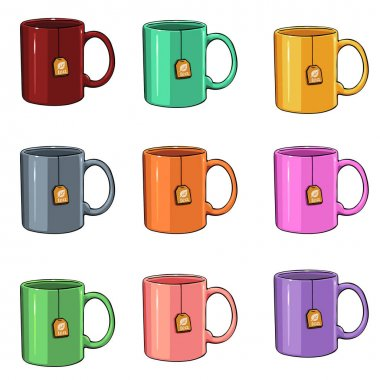 Set of 9 Cartoon Color Mugs