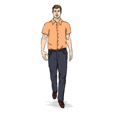 Man Model in Short Sleeve Shirt.