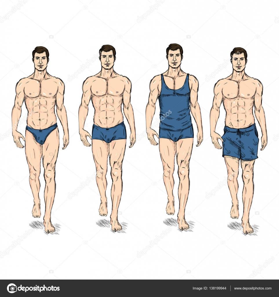 93f73c5f24 Conjunto de vector de dibujo moda modelos masculinos en ropa interior -  imágenes  modelos hombres sin ropa — Vector de ...