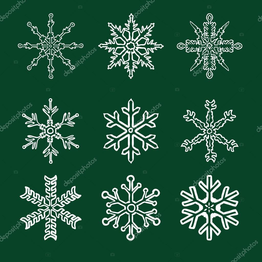 Chalk Sketch Snowflakes