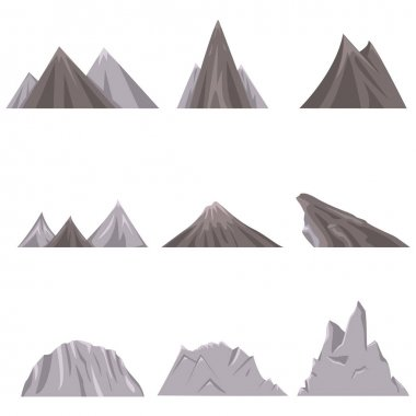 set of mounts with hills and mountain ranges