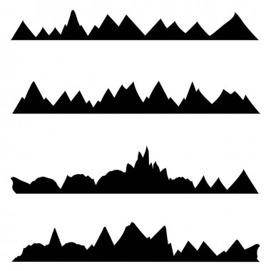 set of doodle chains of mountains