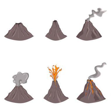 Set of flat color volcanoes