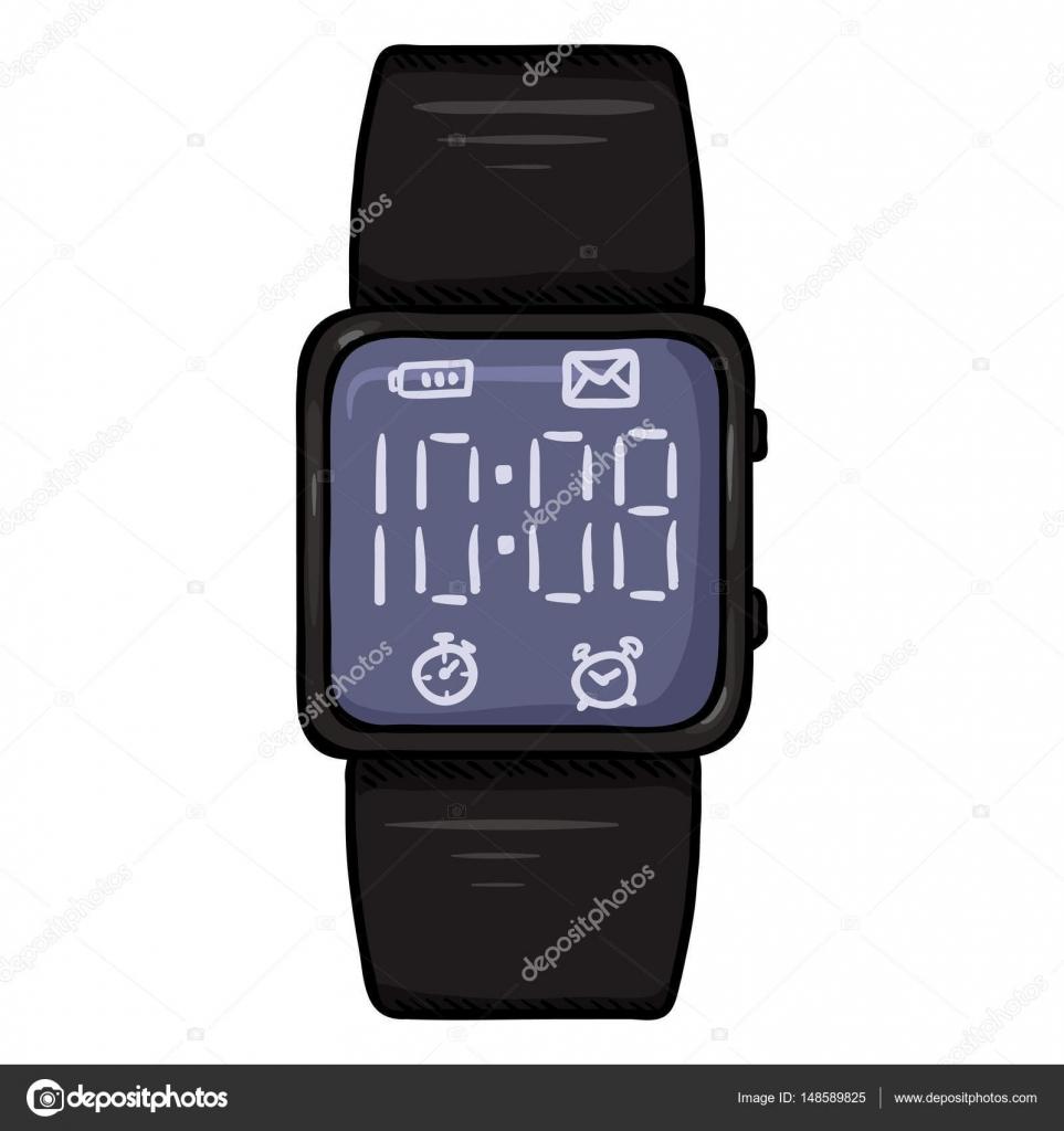 4324a33304d7 Moderno reloj de pulsera digital de dibujos animados — Archivo Imágenes  Vectoriales