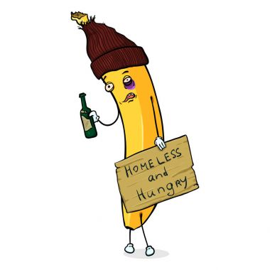 Cartoon Character - Homeless Banana