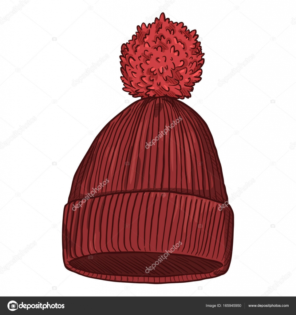 01d65c98103ae knitted hat with pompom — Stock Vector © nikiteev  165945950