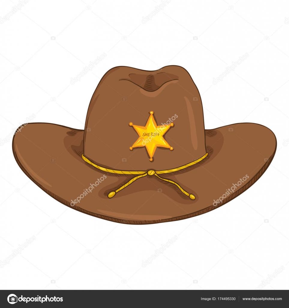 Sombrero Vaquero Sheriff Dibujos Animados Vector Con Insignia Estrella Oro  — Vector de stock ee4545590e1