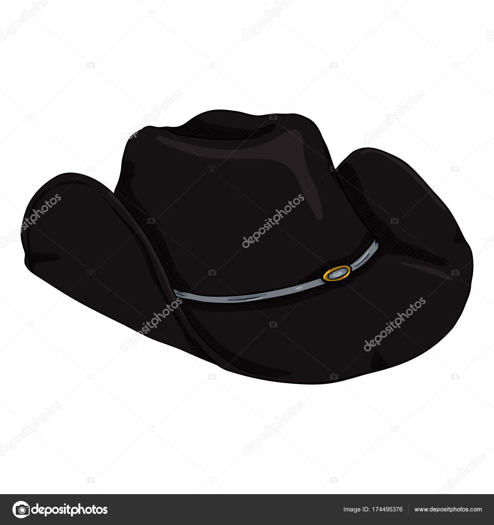 Sombrero de vaquero negro de dibujos animados solo vector en blanco  Bcakground - imágenes  formas de sombreros vaqueros — Vector de nikiteev —  Vector de ... 5d7782c3b85