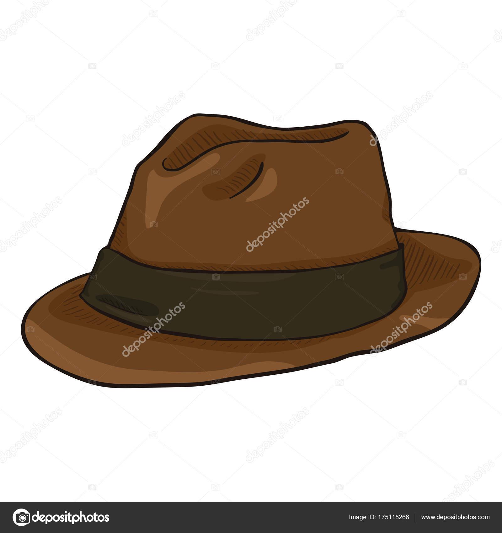 Vector Dibujos Animados Sombrero Fedora Marrón Con Cinta Negra Sombreros —  Vector de stock 067e80c51ec