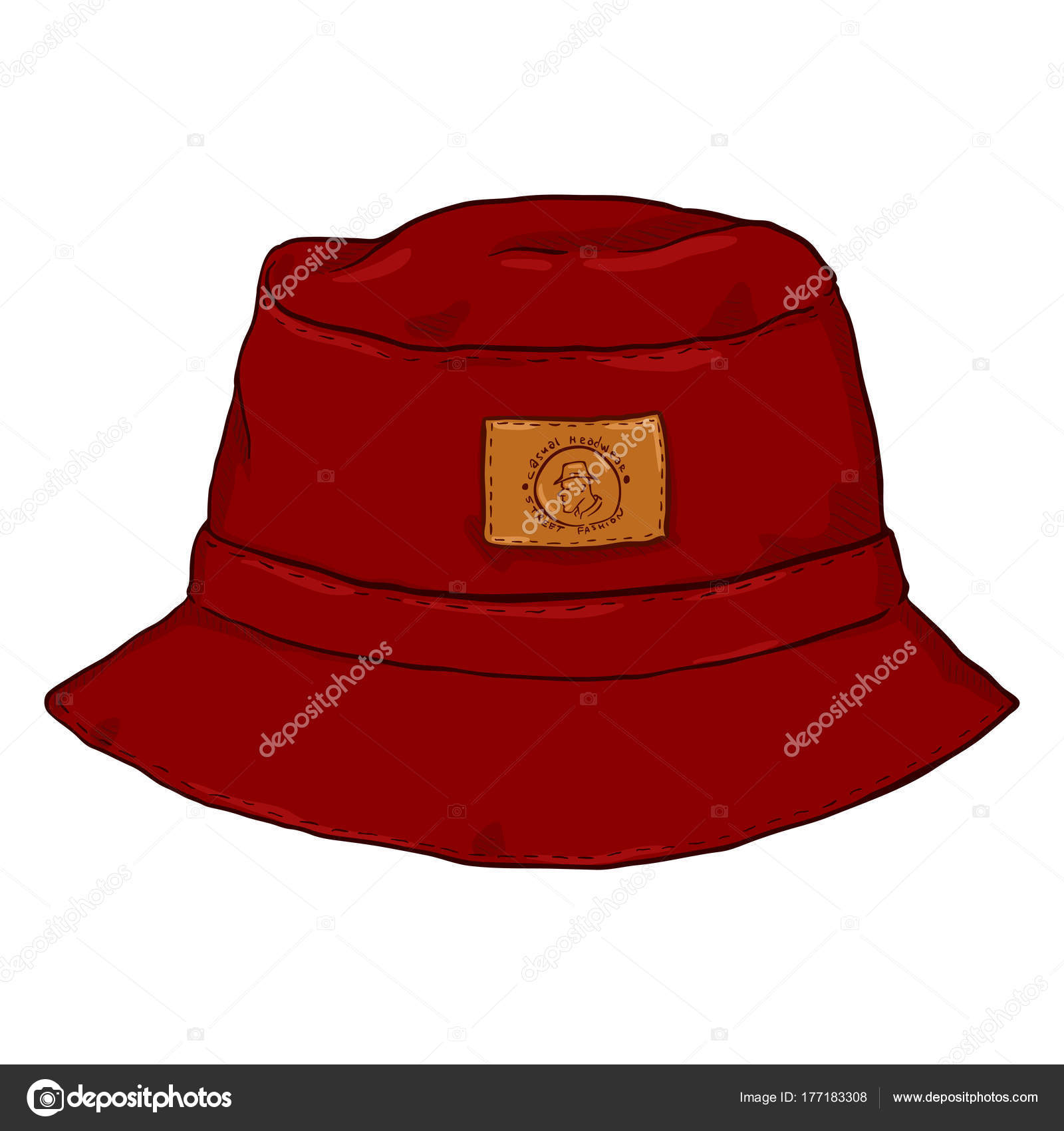 Front View Black Cartoon Bucket Hat Label — Stock Vector © nikiteev ... 88a9d4f3fb4