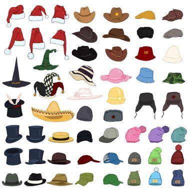 Big Set of Cartoon Color Hats and Caps