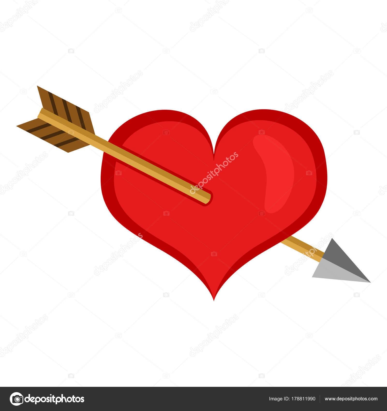 Vector Icono Color San Valentín Corazón Rojo Atravesado Por Una ...