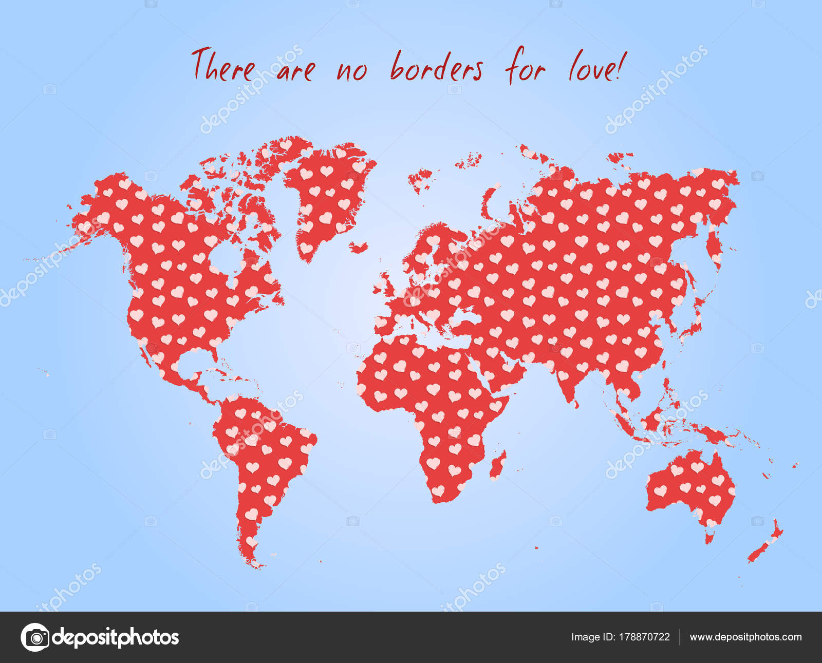 Map Of The World No Borders.Vector Valentine Day Postcard World Map Heart Pattern Text Borders