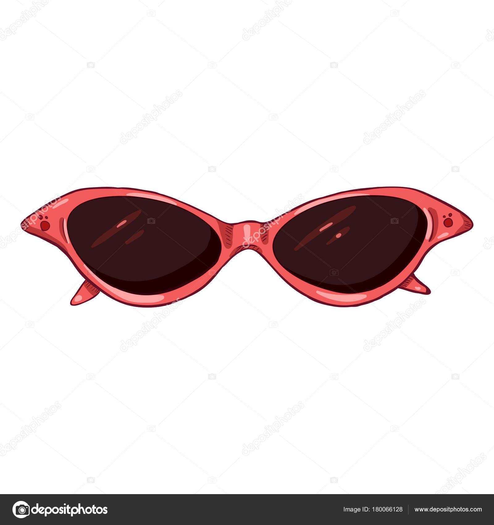 7183b793c95c39 Vector Cartoon vrouwen zonnebril in roze kunststof rand — Stockvector