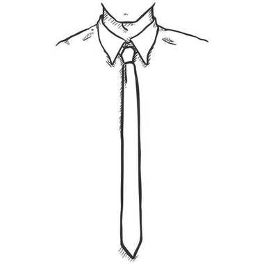 hand drawn Sketch of Office Employee in Shirt and Necktie, vector, illustration