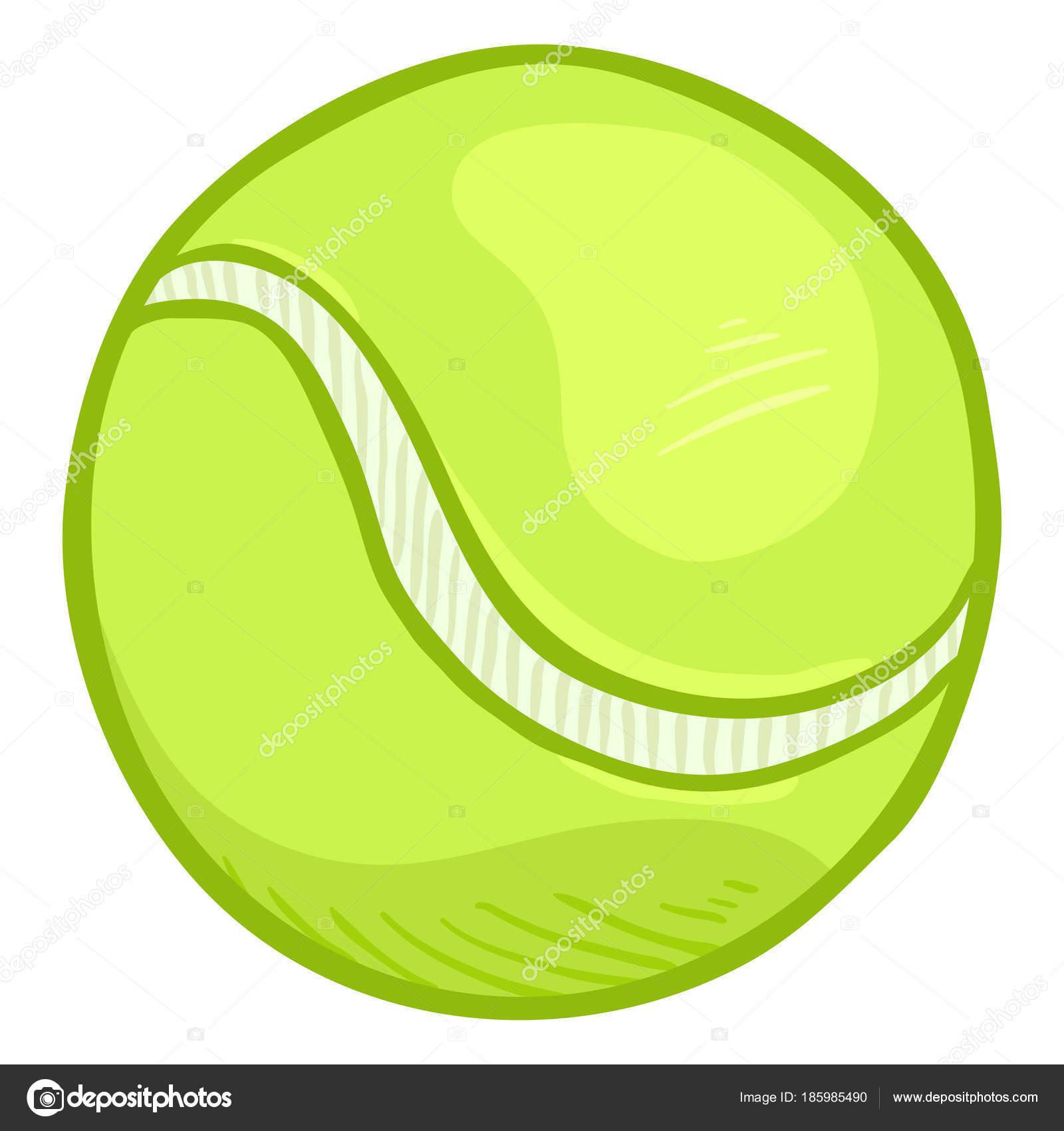 606fac61b0088 Balle de Tennis dessin animé lumière vert sur fond blanc, illustration  vectorielle– illustration de stock