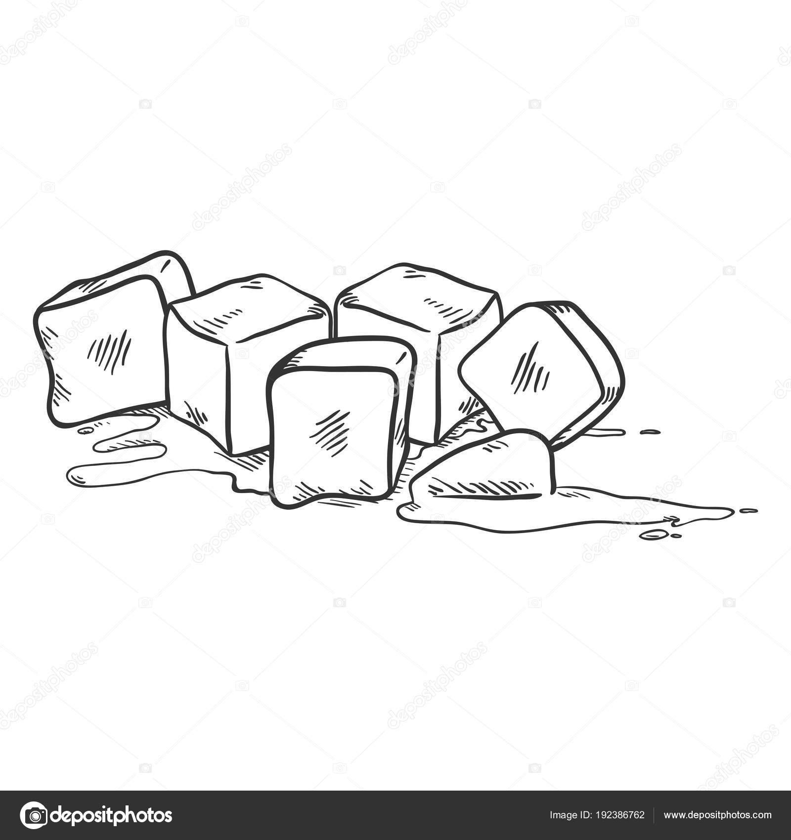 Imágenes Cubos De Hielo Para Dibujar Vector Ilustración Esbozo