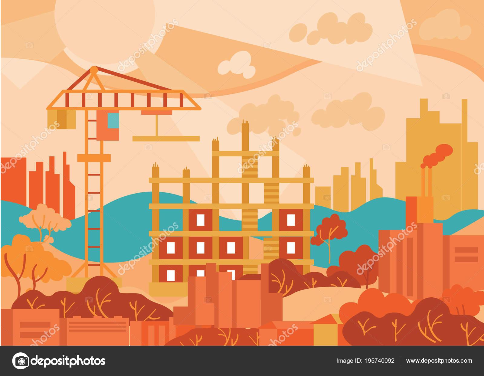Paisaje urbano de diseño plano. Resumen ciudad moderna — Archivo ...