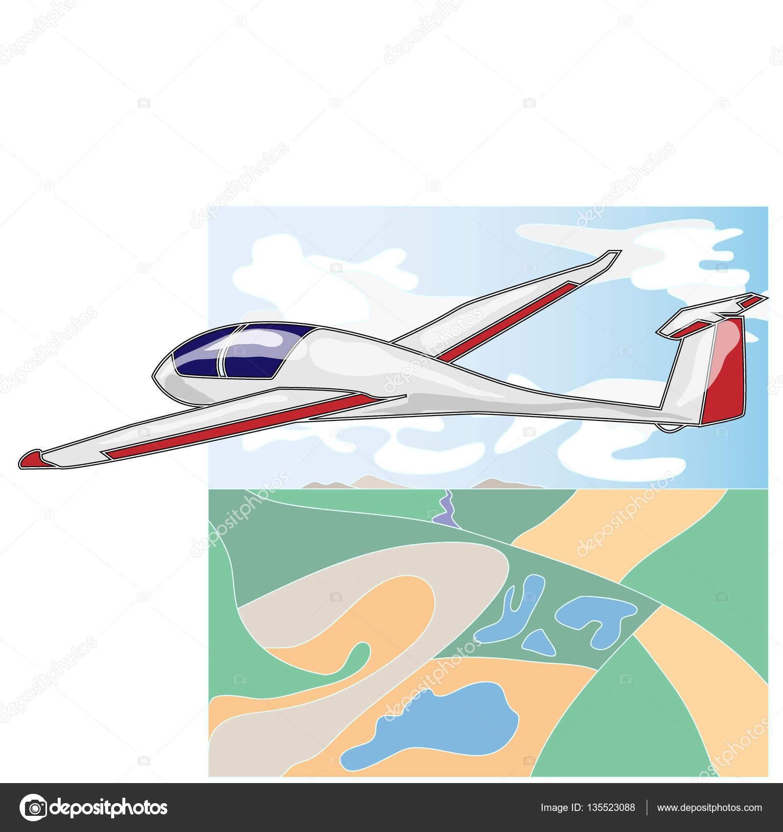 glider sailplane illustration isolated on white stock photo