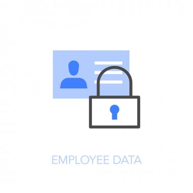 Employee data symbol with a padlock and identity card. Easy to use for your website or presentation.