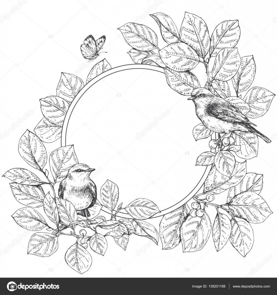 Runde Blumenrahmen mit Vögel — Stockvektor © Valiva #139201188