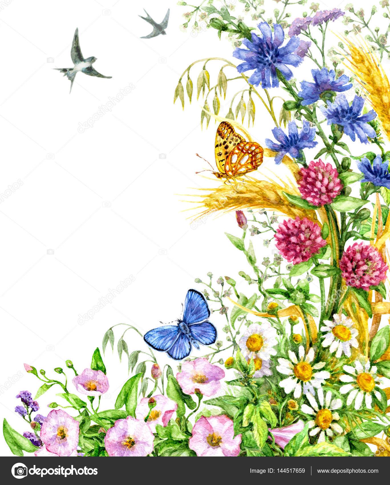 Zijde decoratie met wilde bloemen en vlinders stockfoto for Bloemen decoratie