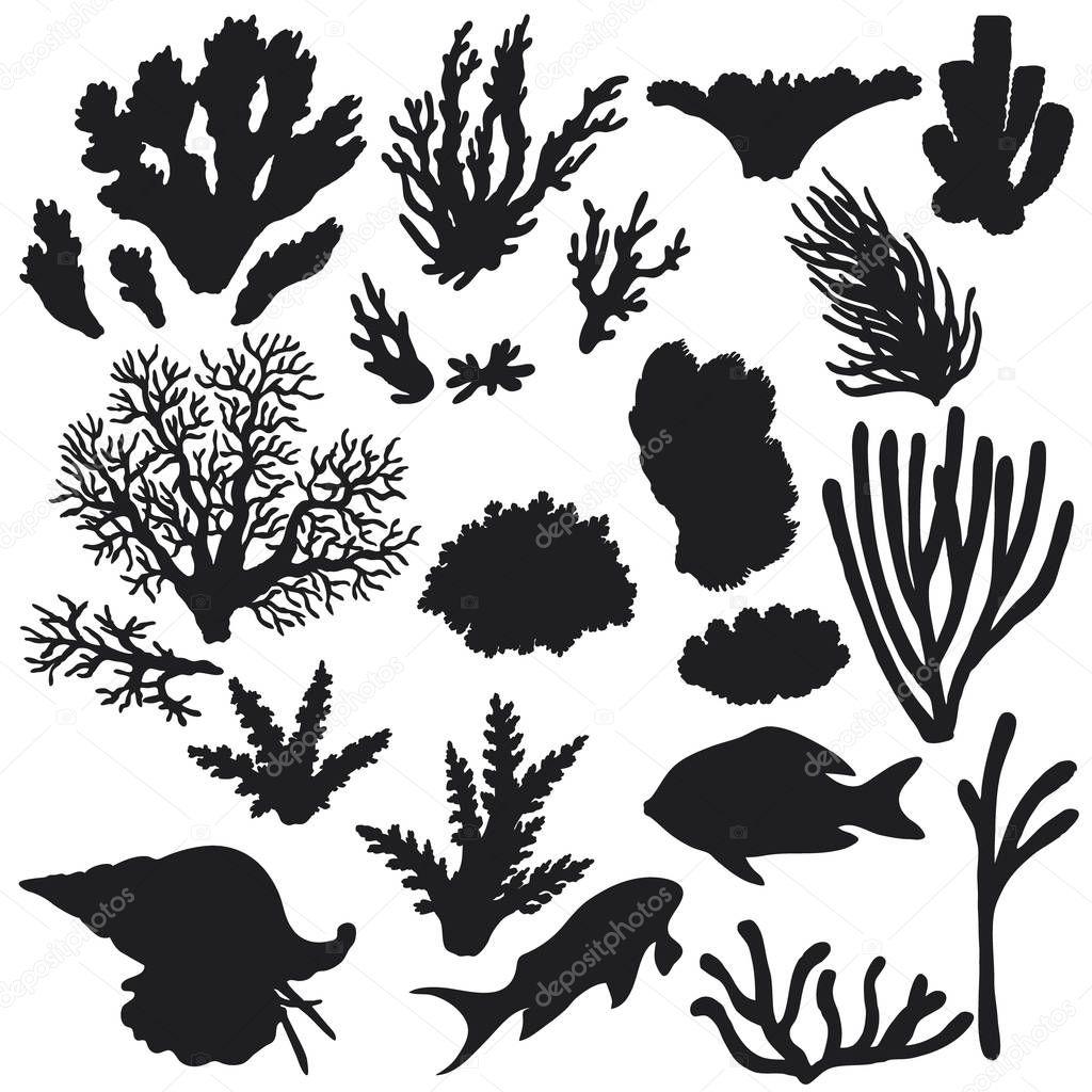 rifftiere und korallensilhouetteset — stockvektor