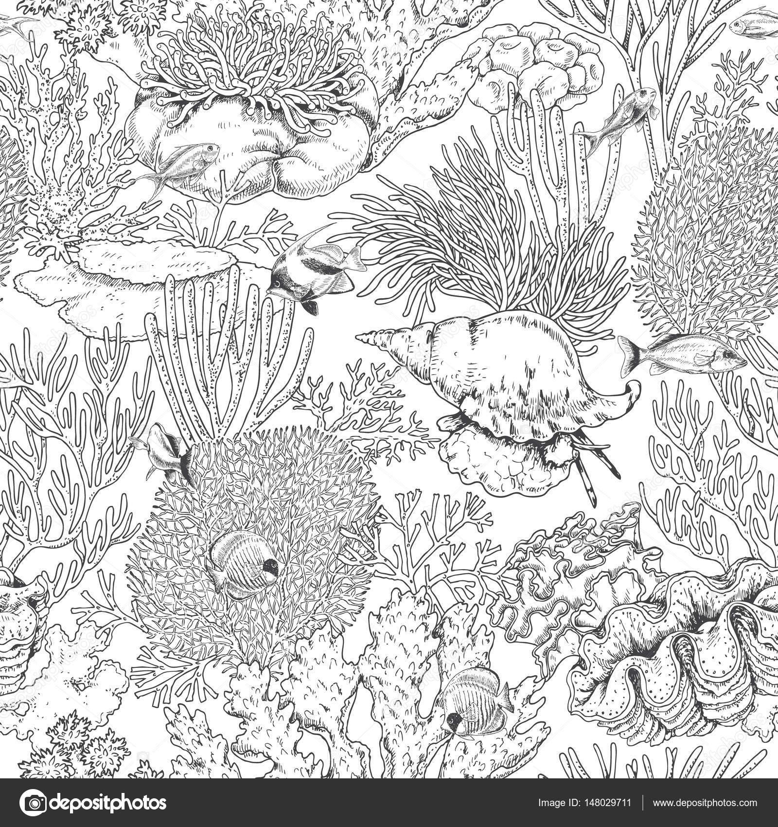 Korallenriff und schwimmen Fische Muster — Stockvektor © Valiva ...
