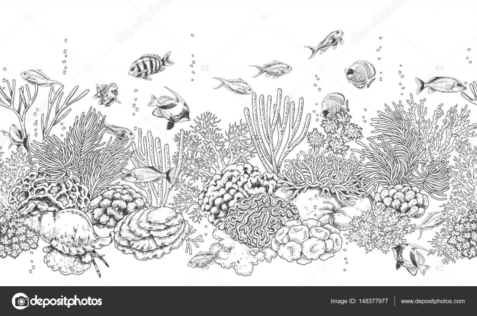 Arrecife de coral y peces patrón — Vector de stock © Valiva #148377977