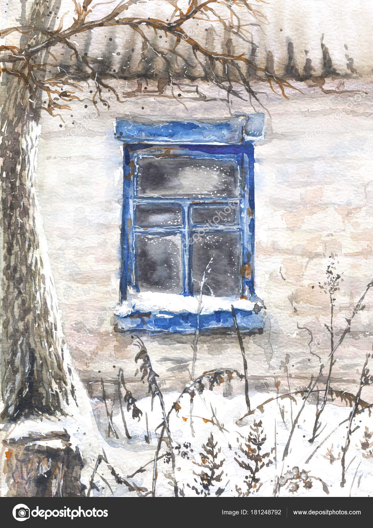 Hand Drawn Wall With Window Of An Old Abandoned House Winter Village Scene Photo By Valiva