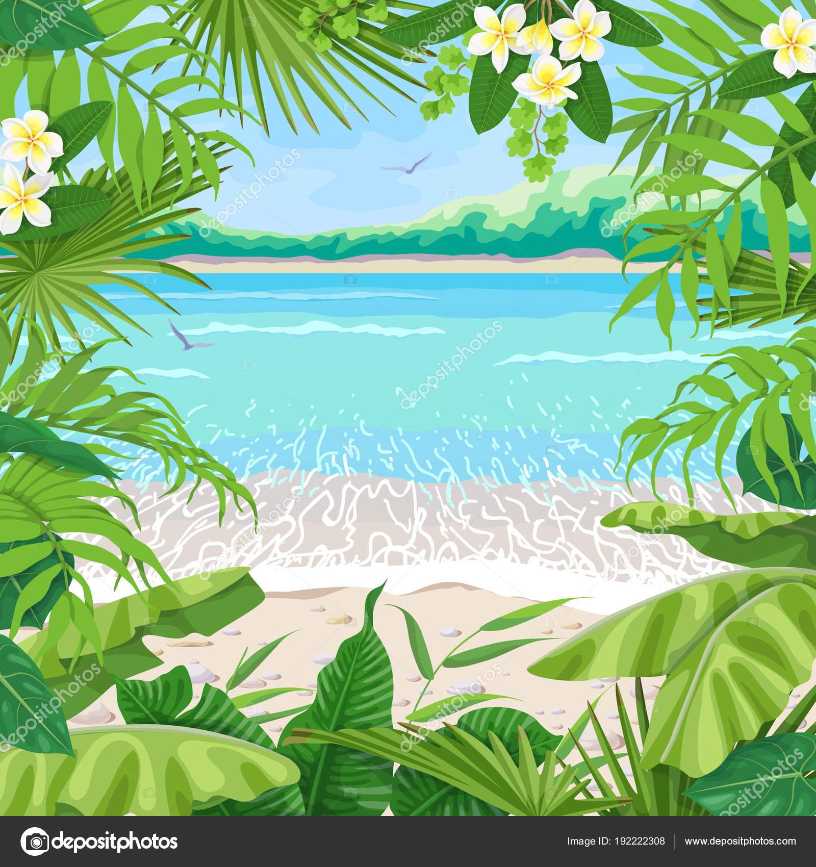 Fondo de verano con marco Tropical en la costa — Archivo Imágenes ...