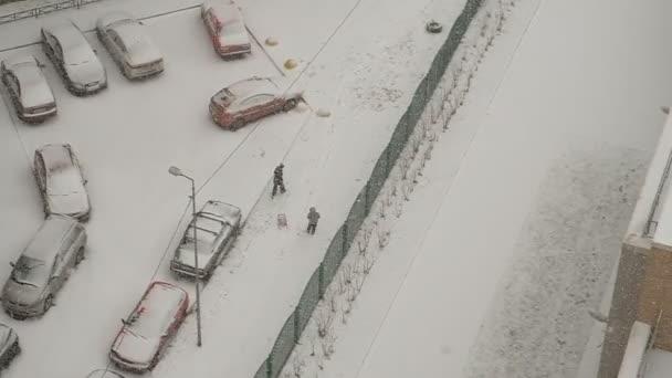 Sníh v Petrohradě. Pohled z okna, 15. patro. Sněhové vločky usnou. Šedá obloha, zataženo. Auta, domy zbělely.