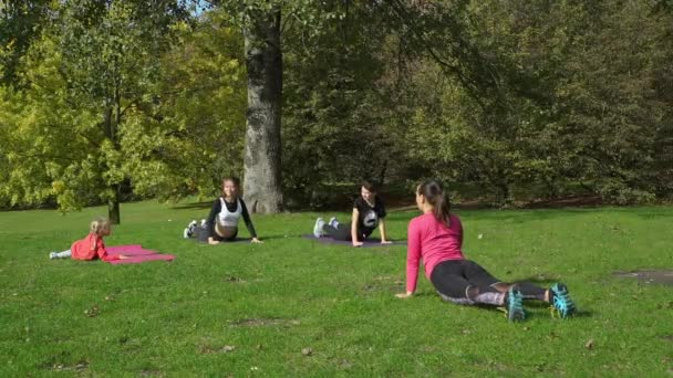 Kids and Yoga Instructor Stretching in the Park