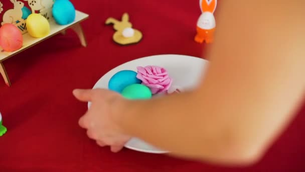 Closeup of Easter Table Decorating at Home