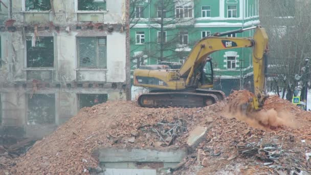 Excavator Working at the House Demolition