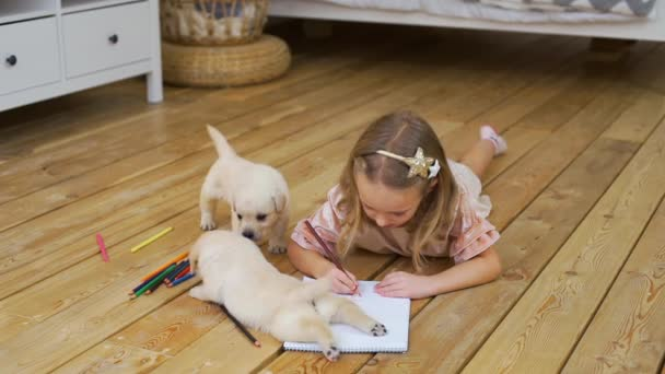 Little Girl Coloring Picture near Funny Puppies