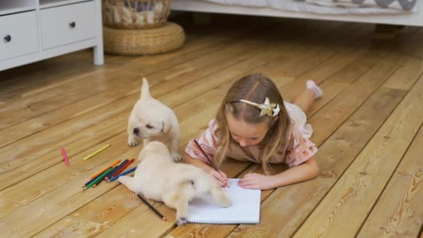 Little Girl Drawing on a Floor near Funny Puppies