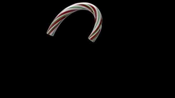 3D animovaný vánoční cukrová třtina písmo s odděleným alfa kanálem, znak 2