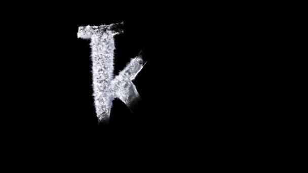 Animovaný mrazivý zimní typ písma se samostatným alfa kanálem, znak: K