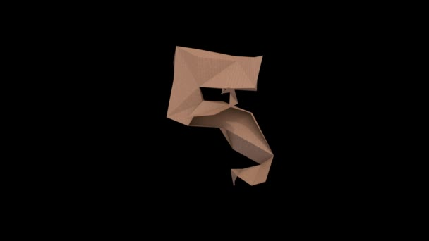 3d animated low polygon cardboard text with alpha channel the character 5