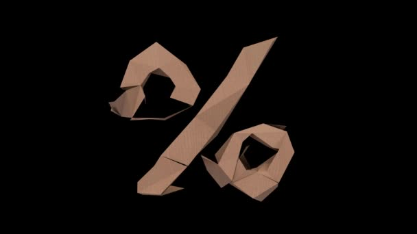 3d animated low polygon cardboard text with alpha channel the character percent