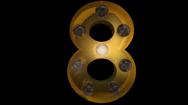 Animované Zlaté žárovky písmena se 4 různými blikajícími animacemi, které mohou být smyčky a samostatný alfa kanál 8