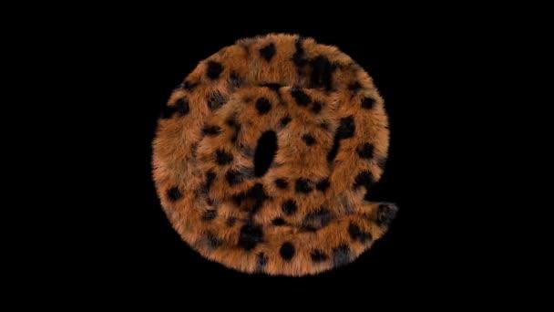 3D animierte pelzige haarige Zoo-Leopardenschrift mit Alphakanal bei