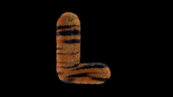 3D animované chlupaté chlupaté zoo tygr text písmo s alfa kanál L