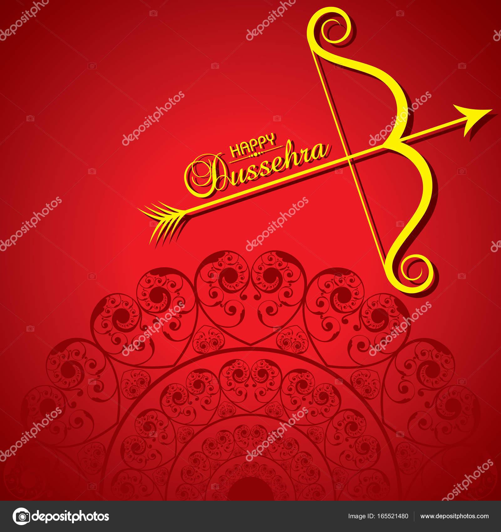 Dussehra Festival Greeting Or Poster Design Stock Vector