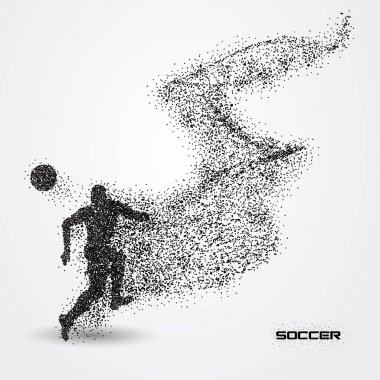soccer player of a silhouette from particle