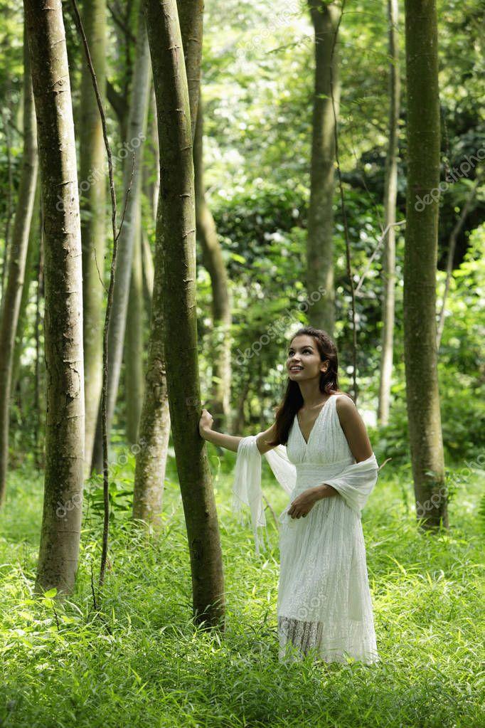 woman wearing a white dress