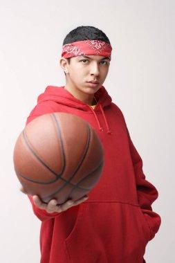 Basketball player in red sweatshirt