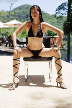 Woman in bikini, wearing high heels